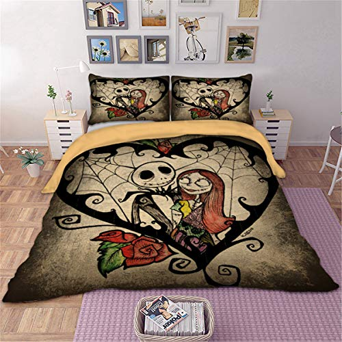 WONGS BEDDING Nightmare Before Christmas Set da Letto 3Pcs Set trapuntino Diable con 2 federe per...