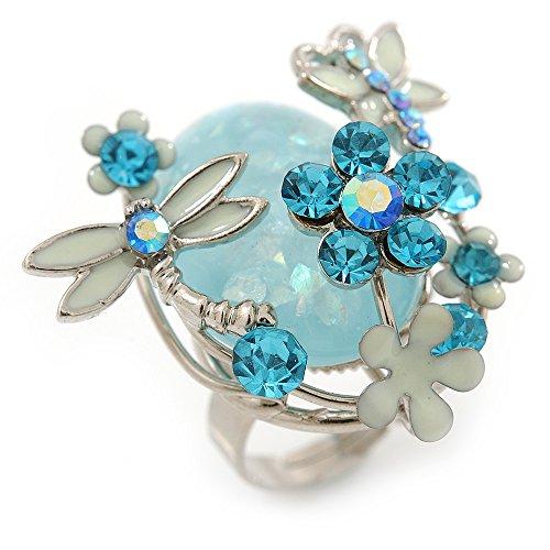 Avalaya para Cama Azul Claro Flores y Mariposa Anillo en Rodio en Relieve con Brillantes - tamaño Ajustable 7/8