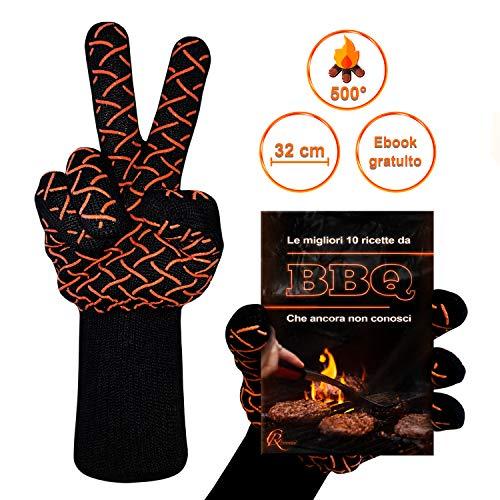 CR Essential Guanti per Barbecue e da Forno in Kevlar Resistenti Fino a 500° - Protezione di 12cm...