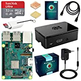 ABOX Raspberry Pi 3 Modèle B Plus (3 B+) Starter Kit [ Version Dernière ] 32 Go Classe 10 Micro SD Carte, 5V 3A Alimentation Interrupteur Marche/Arrêt Boîtier Noir