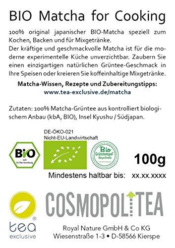 BIO Matcha grüner Tee (gemahlener original japanischer Grüntee), vegan/vegetarisch, 100g Beutel (wiederverschließbar)