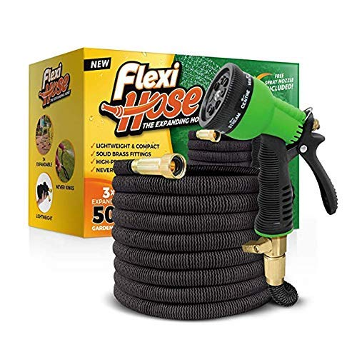 "FlexiHose Upgraded Expandable 50 FT Garden Hose, Extra Strength, 3/4"" Solid Brass Fittings - The Ultimate No-Kink Flexible Water Hose, 8 Function Spray Included"