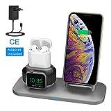 Chargeur sans Fil pour iPhone iWatch, Chargeur Charge Qi Portable Chargeur Station pour iPhone XS/XS Max/XR/X/8/8Plus, Samsung Galaxy S9/S9 Plus/Note 8/S8/S8 Pluspour Airpods Watch 4, 3, 2, 1--Gris