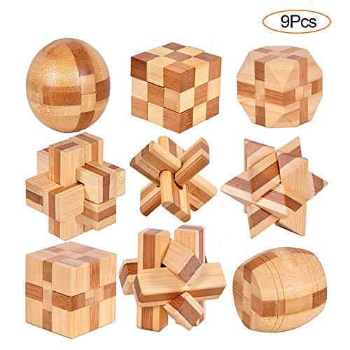 YGZN 9 Pezzi Rompicapo Puzzle Giocattoli di Legno - 3D Puzzle di Legno - Gioco di Puzzle di Legno -...