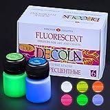 Nevskaya Palitra Fluoreszierende Acrylfarben Set | 6 x 20 ml Näpfchen | Neon Acryl Farben Set mit Glow-Effekt unter Schwarzlicht (UV-Licht) | Qualität von Decola