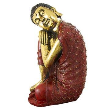 Figura buda de resina en color rojo y dorado | 60 cm de alto | Portes gratis 6