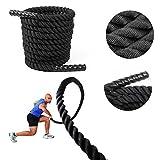Femor 9/12/15M Schwarz Fitness Tau Trainingsseil Schlagseil Battle Rope Schlangenseil ∅ 3.8cm - mehr Stabilität