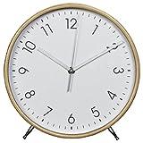 Hama Tischuhr Wanduhr aus Holz (geräuscharme Uhr ohne Ticken, 22 cm Durchmesser, Standuhr) weiß/natur