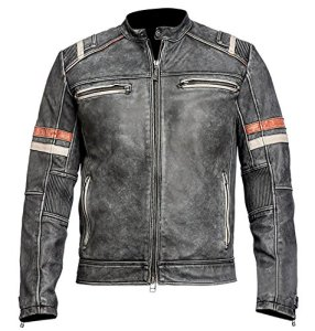 Herren Vintage Motorrad Cafe Racer Retro Moto Distressed Lederjacke (XL) 5