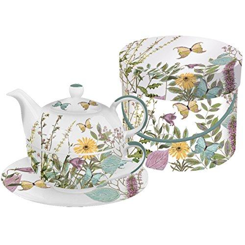 PPD Juego de Taza de Té para Uno con Caja Regalo Motivos Florales y Mariposas (Kensington Garden) 0,3l.