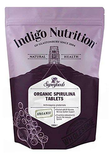 Indigo Herbs Comprimidos de Espirulina Orgánica - 1000 Comprimidos (500mg)