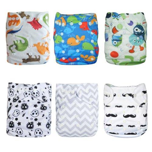 Alva Baby Pannolini 6 pezzi Tasca lavabile regolabile in tessuto + 12 inserti (colore ragazzo) 6DM08-EU