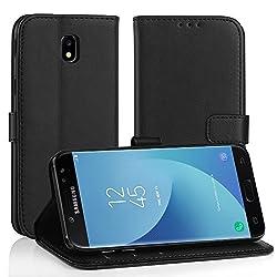 Kaufen Simpeak für Samsung Galaxy J5 2017 Leder Hülle, Flip Wallet Case Cover für Galaxy J5 2017 [Kartensteckplätze] [Stand Feature] [Magnetic Closure Snap], Schwarz