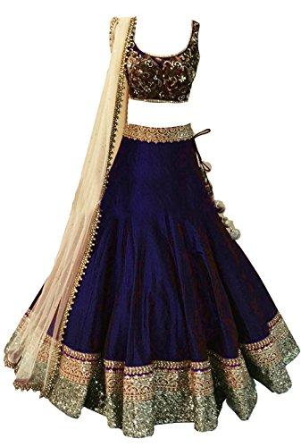 Clickedia Girls Bhagalpuri Silk Lehenga Choli With Blouse Piece_Blue_Free Size
