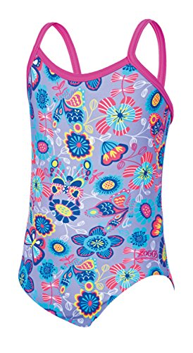 Zoggs Bañador para niñas Wild Yaroomba bañador Flores, niña, Wild Yaroomba Floral, Lilac/Multi, XS