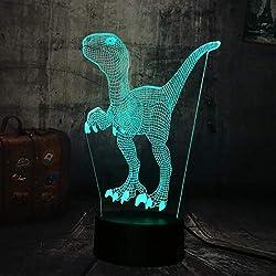 Luz Nocturna Jurassic World Dinosaur Velociraptor Azul 3D Led Lámpara De Mesa 7 Cambio De Color Luz Nocturna Decoración De La Habitación Regalo De Navidad Juguete Para Niños