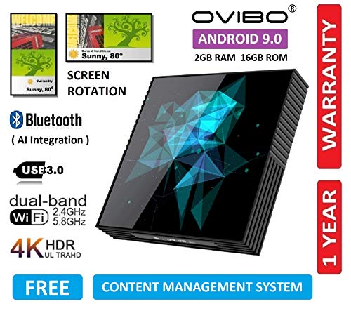 OVIBO® Digital Signage Media Player with Screen Rotation & Free Content Management System Android Smart TV Box 4K Media Player