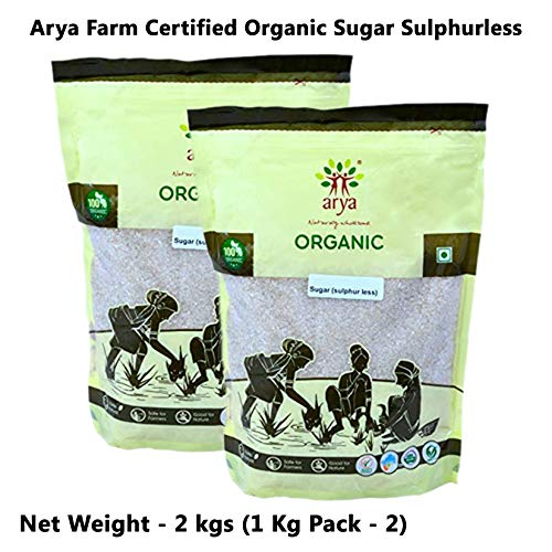 Arya Farm 100% Certified Organic Sugar ( Sulphurless ) 1 Kg ( Pack of 2 ) , ( No Chemicals / No Pesticides / Pure / Sulphurless )