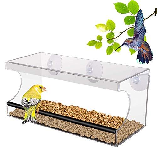 PEDY Großer Fenster Vogelfutterspender, Transparenter Saugfuß Durchsichtiger Vogelhaus Fenster Vogelfutterspender Großer Acryl Vogelfutterspender Vogelfutterstation