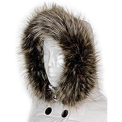 Cuello de Mujer Con Capucha De Piel Chaqueta Bufanda
