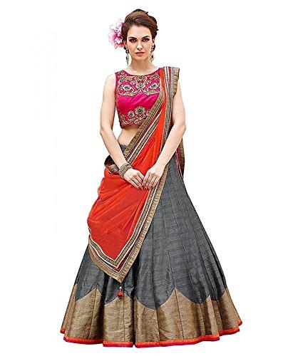 Fashion Dream Women's Banglori Silk Lehenga Choli (#Kajal Grey_gray_Free Size)