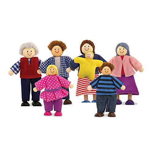 Melissa & Doug- Famiglia di Bambole in Legno, Multicolore, 2464