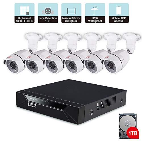 Sistema di telecamere Tonton 8CH Full HD 1080P per la sicurezza domestica, DVR di sorveglianza con disco rigido da 1 TB e (6) Telecamera bullet TVCC da esterno 2.0MP 1920TVL per interni.