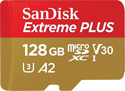 SanDisk Extreme Plus Scheda di Memoria microSDXC da 128 GB e Adattatore SD con App Performance A2 e Rescue Pro Deluxe, fino a 170 MB/sec, Classe 10, UHS-I, U3, V30