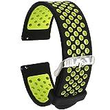 Elespoto 24 mm universale Watch, morbido silicone Nike sport Quick Release orologio da polso cinturino per orologio (Black Yellow)