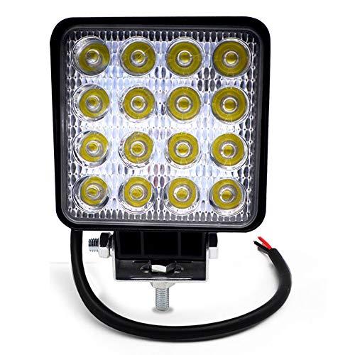 BeiLan Focos de Coche LED, 48W 12V / 24V Faros Led Trabajo Proyectores Luz de carretera Luz de trabajo auxiliar para trabajo fuera de carretera Barra de luz LED impermeable para camión, tractor