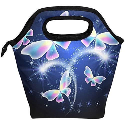 Bolsas Térmica,Fuegos Artificiales De Mariposas Animales Brillantes Bolsas De Picnic Personalizadas Frescas Para Niños Escuela Al Aire Libre