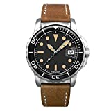 Undone Men's Automatic Analog Watch Steel Vintage Leather Diver Aqua 1960