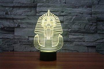 3D Illusion Egipto esfinge Faraon Lámpara luces de la noche ajustable 7 colores LED Creative Interruptor táctil estéreo visual atmósfera mesa regalo para Navidad 5