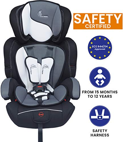 R for Rabbit Jumping Jack Grand Car Seat - The Growing Baby Car Seats for Baby/Kids (Black White)