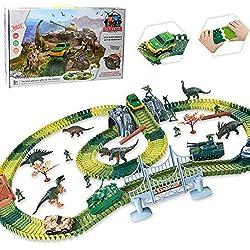 Modelo militar DIY Multi-Variable montado dinosaurio pista eléctrica Racing Toy para niños