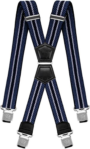 Decalen Tirantes Hombre Elásticos Ancho 40 mm con Clips Extra Fuerte Una Talla Para Todos (Azul Plata Negro)