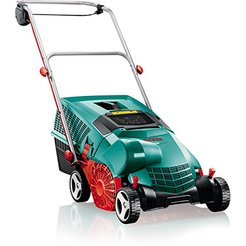 This scarifier offers the best of both worlds. It is an affordable item with interesting features to work with. Being that it is an electric model, this lawn raker is hardly as noisy nor does it need as much maintenance as a petrol model. Armed with a 1100W motor this model supports 2-in-1 functions. You will be able to scarify and rake your lawn until you are pleased with the outcome. It has a 32cm working width, 4 cutting settings and it is easy to store among other things. Many of the customers that have purchased this unit are happy with it. You can tell by its high rating and the high number of happy customers.