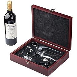 Cooko Apribottiglie Manuale,Vino Cavatappi con Aeratore,Versatori,Vino Accessori Incluso 9 Pezzi con Caso Wood Regalo