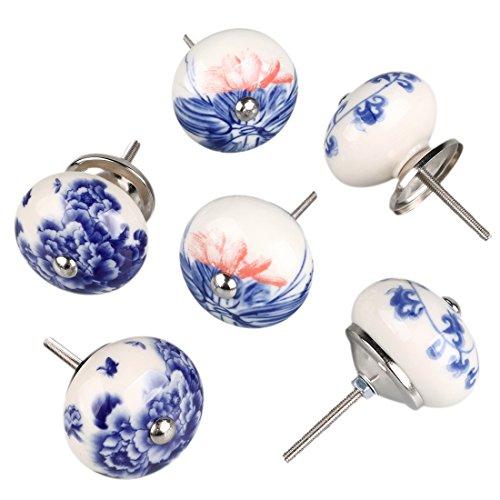 Sourcingmap 6pezzi vintage shabby chic manopole blu e bianco floreale dipinto a mano in ceramica...