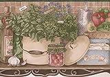 Retro Art Küche Regal Obst Gemüse Körbe Wasserkocher Rezept Box Vintage Tan Wallpaper Border Retro-Design, Roll-15' x 6,5 ''