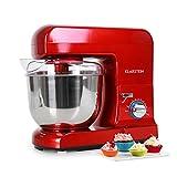 Klarstein Gracia Rossa - Küchenmaschine, Rührmaschine, Knetmaschine, 1000 W, 1,3 PS, 5 Liter, planetarisches Rührsystem, Schnellspannsystem, rot
