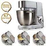 Küchenmaschine mit XL Edelstahlschüssel, 6,7Liter Schale, Profi-Knetmaschine mit 1500Watt Leistung, silber