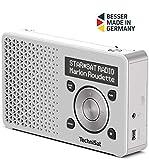 TechniSat Digitradio 1 tragbares DAB Radio mit Akku (DAB+, UKW, FM, Lautsprecher, Kopfhörer-Anschluss, Favoritenspeicher, OLED-Display, klein, 1 Watt RMS) weiß/silber