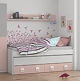 Cama nido con cajones y estantería incluida color blanco y rosa paste, conjunto dormitorio infantil juvenil (medida: 199cm de ancho x 69cm de altura x 96cm de fondo)