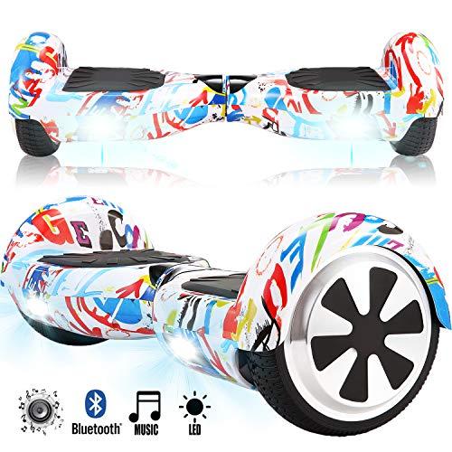 Magic Vida Skateboard Électrique Bluetooth 6.5 Pouces Graffiti avec LED Gyropode Smart Scooter Multicolor Auto-Équilibrage pour Enfants et Adultes,Sac de Transport et Télécommande offerts