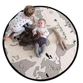 Blanketswarm Alfombra de juego con mapa del mundo, de lona fina, suave, para bebés, de 104 cm de diámetro.