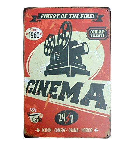 DaoRier Targa in Metallo Vintage Cinema Machine Targa pubblicitaria Decorazione da Parete, 30 x 20...