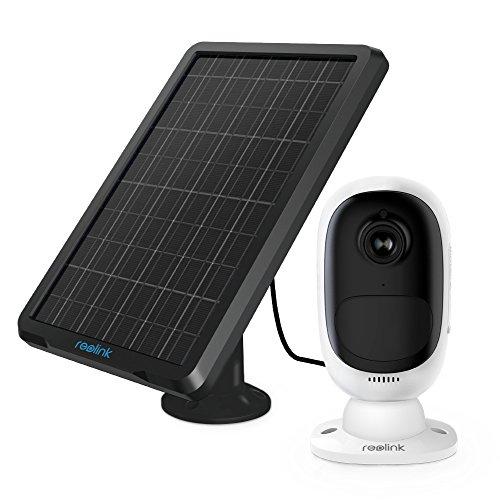 Reolink Argus 2 con Pannello Solare HD 1080P Telecamera di Sicurezza Esterna Ricaricabile a Batteria Sensore di Luce stellare WiFi Cam w Presa SD Supporto 64GB Scheda SD (Pannello Solare Incluso)