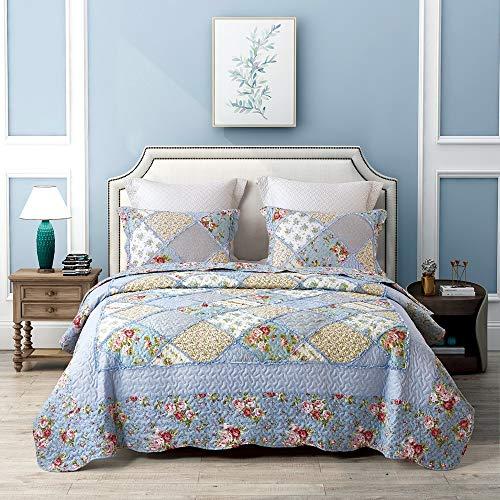Asvert 3 Teilig Bettwäscheset Polyester 220 * 240 cm Tagesdecke Bettüberwurf Steppdecke Patchwork Bettdecke Doppelbett (240 x 220 cm, Blau)
