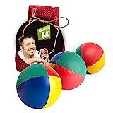 ✓ Palle da giocoleria ✓ Approvato CE ✓ il set complete da giocoliere composto da 3 palle con video tutorial online in sacco di juta beige - a cura di Mister M (Rosso, 3 Palle)